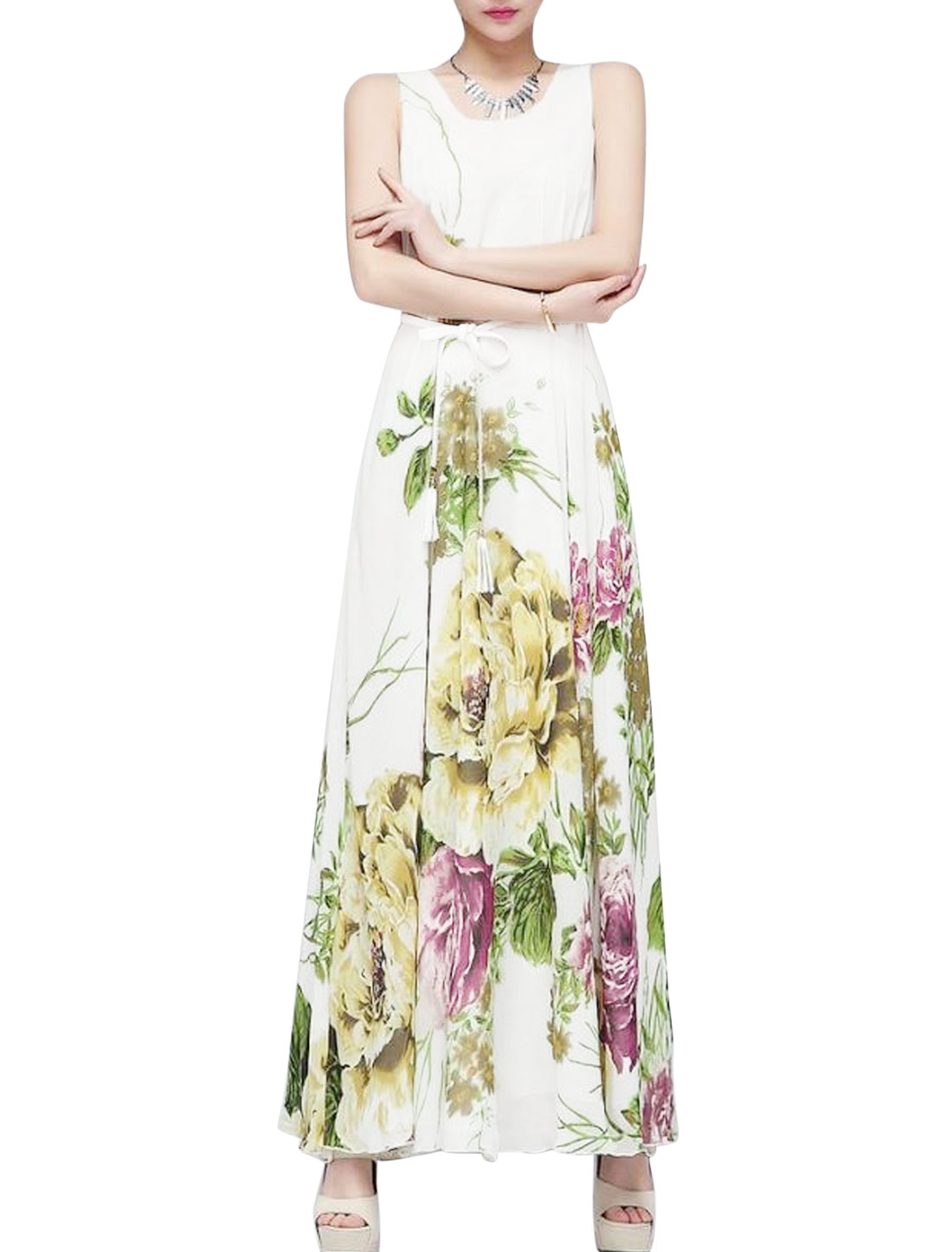 Lady Sleeveless Floral Prints Fully Lined Long Dress w Waist String White M