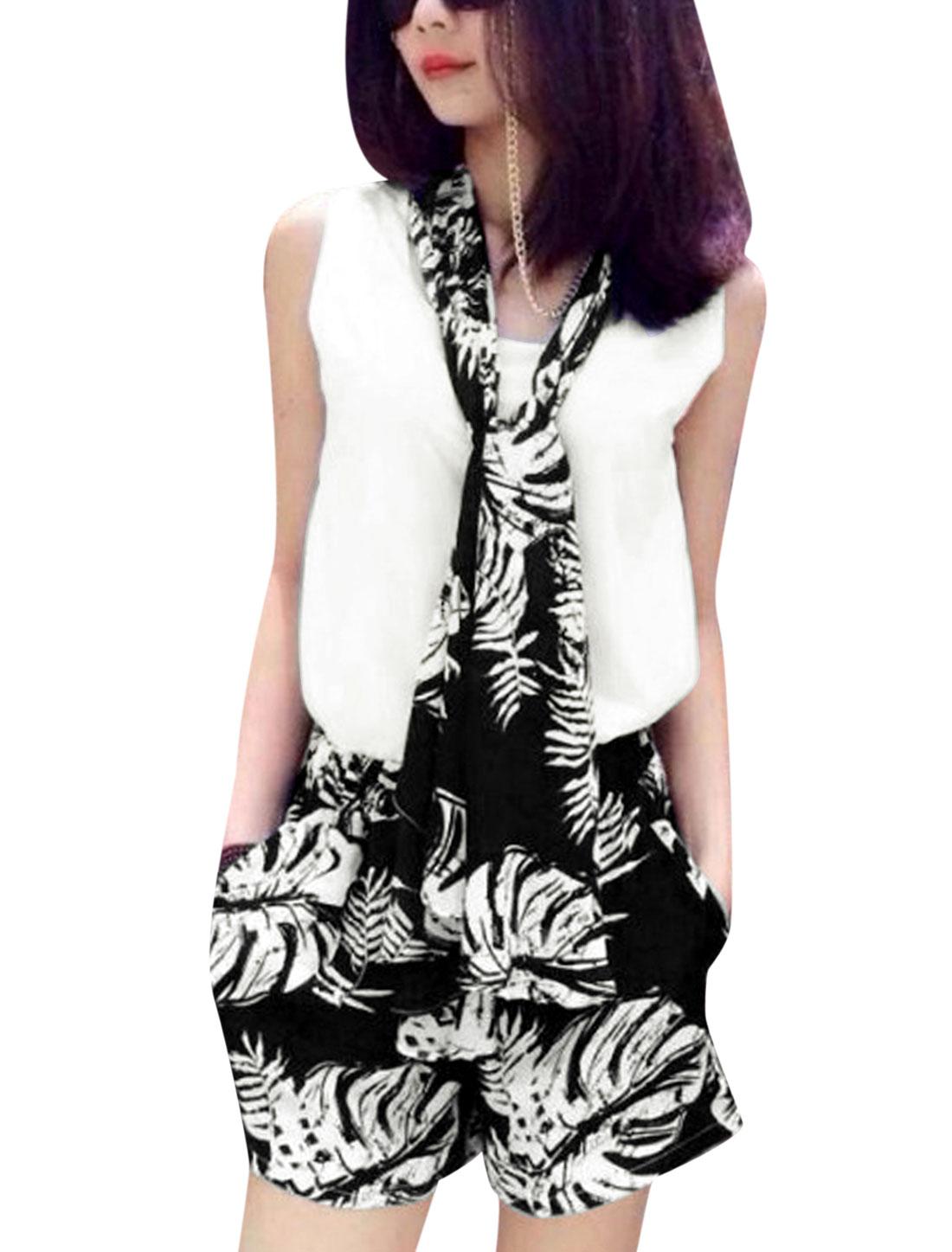 Lady Novelty Prints Black Shorts Set w Sleeveless White Top w Scarf XS
