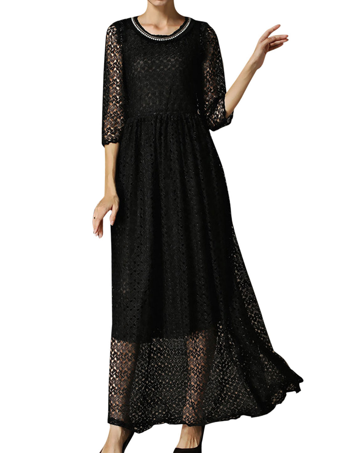 Lady Round Neck 3/4 Sleeve Crochet Elastic Waist Lined Long Dress Black M