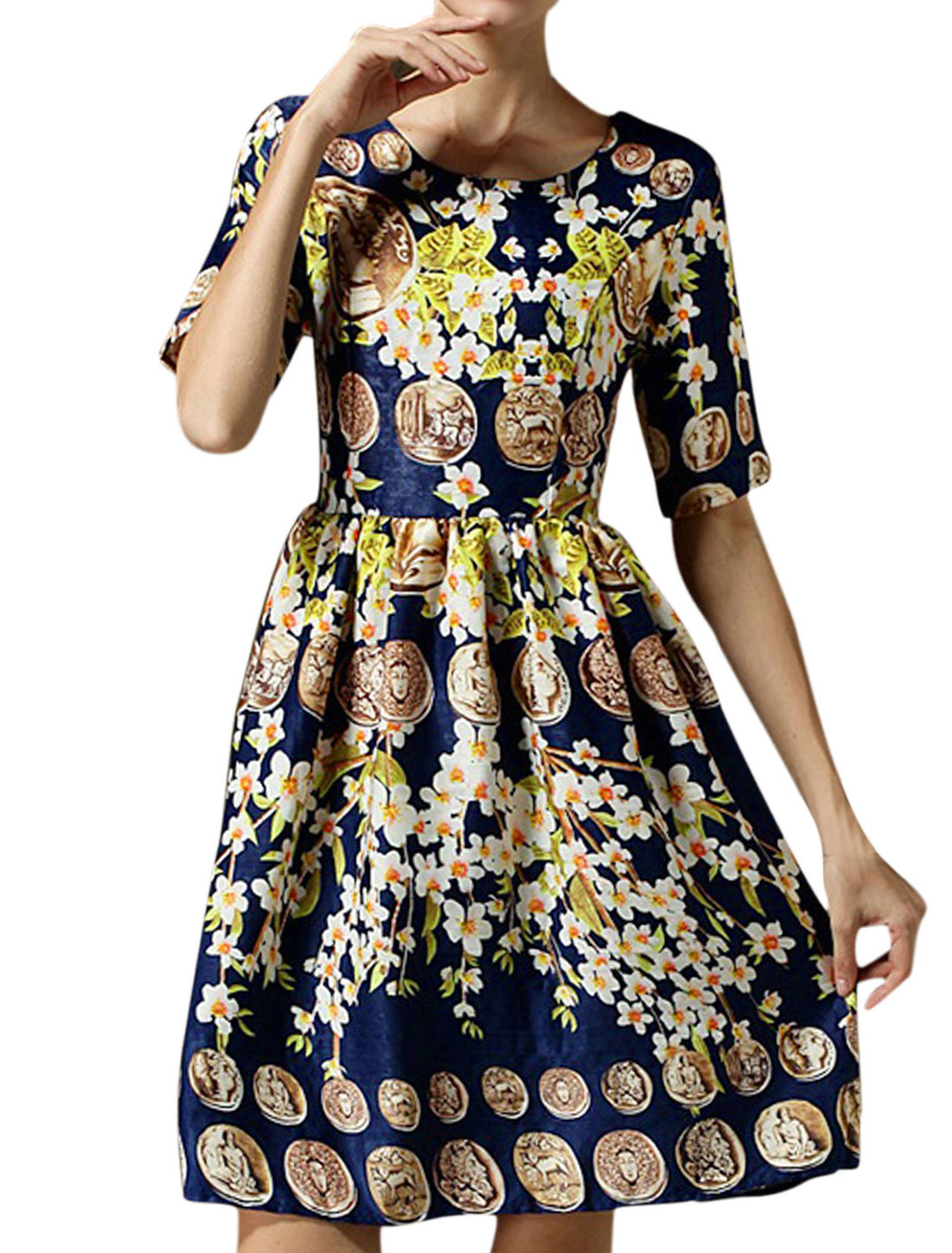 Ladies Retro Elbow Sleeves Portrait Pattern Soft Dress Navy Blue M