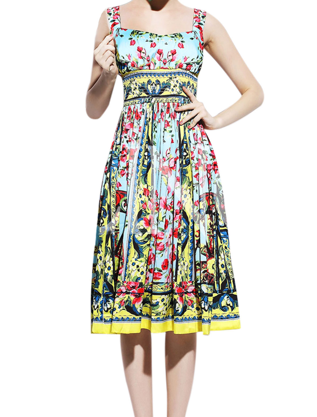 Lady Floral Prints Elastic Smocked Waist Empire Dress Multicolor M