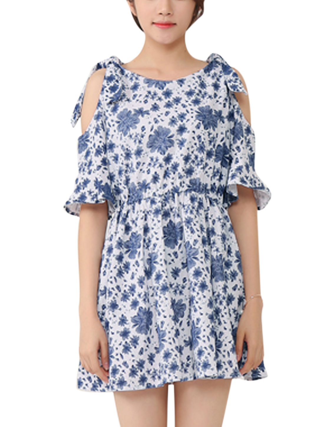 Lady Cold Shoulder Bell Sleeve Floral Pattern Elastic Waist Short Dress Navy Blue S