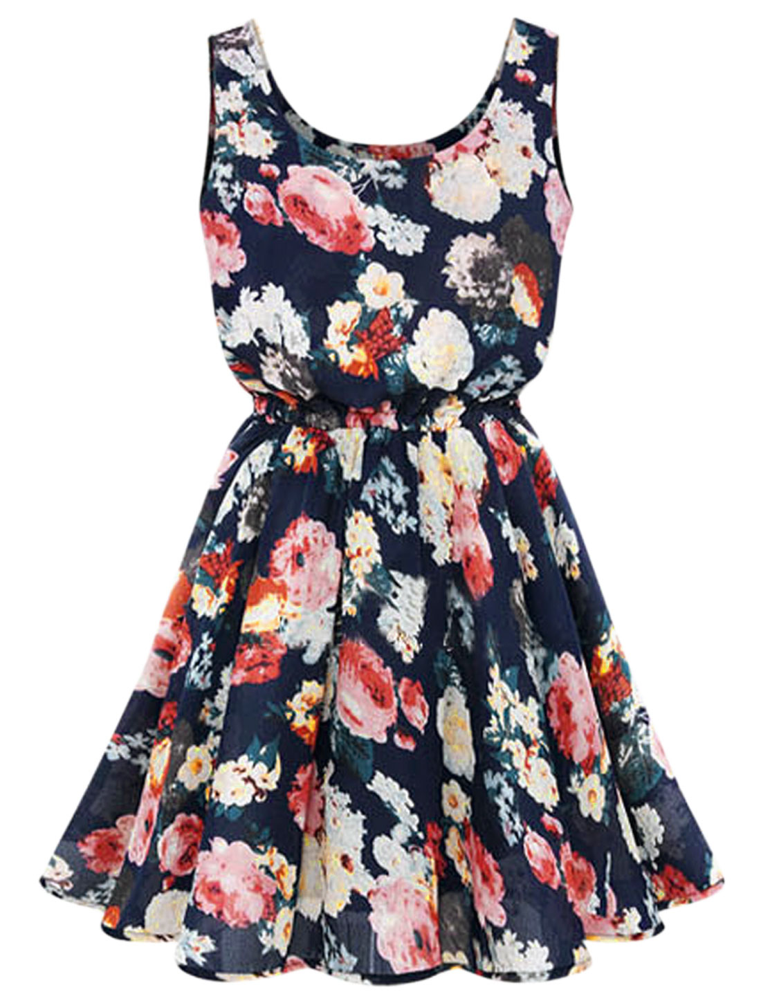 Lady Sleeveless Elastic Waist Floral Prints Fully Lined Dress Dark Blue M