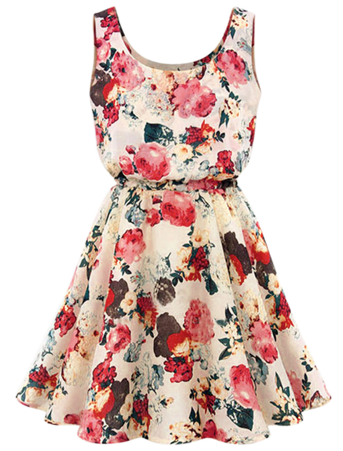 Lady NEW Sleeveless Elastic Waist Flower Pattern Dress Beige M