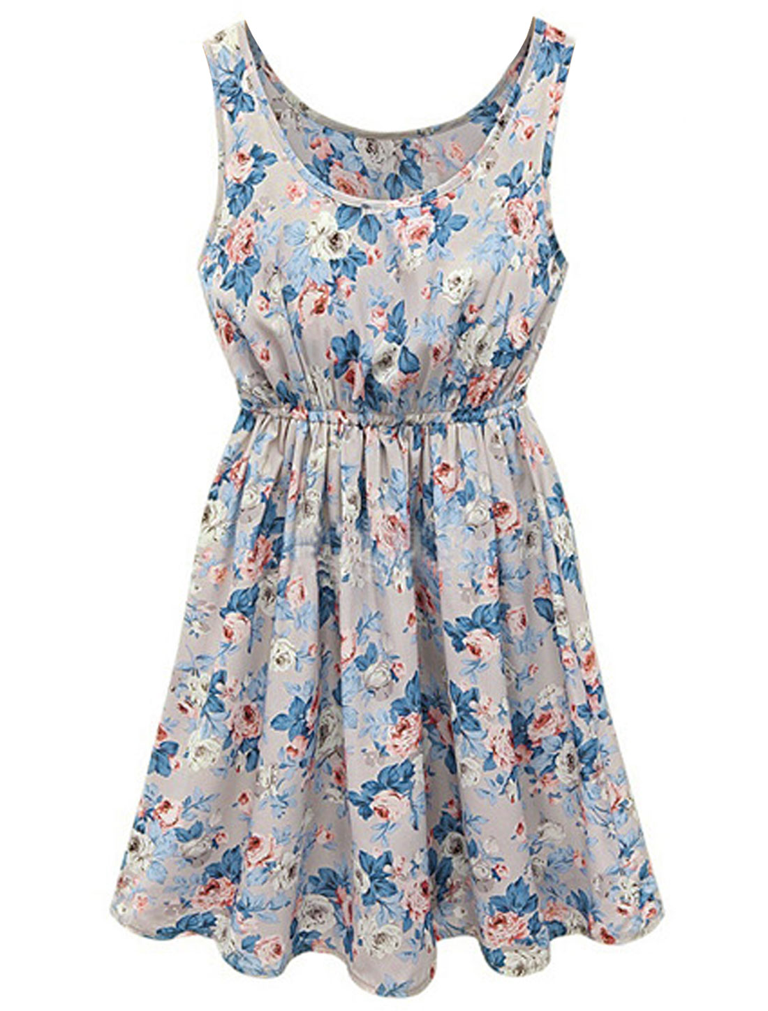 Lady Sleeveless Elastic Waist Floral Prints Fully Lined Dress Cool Gray M