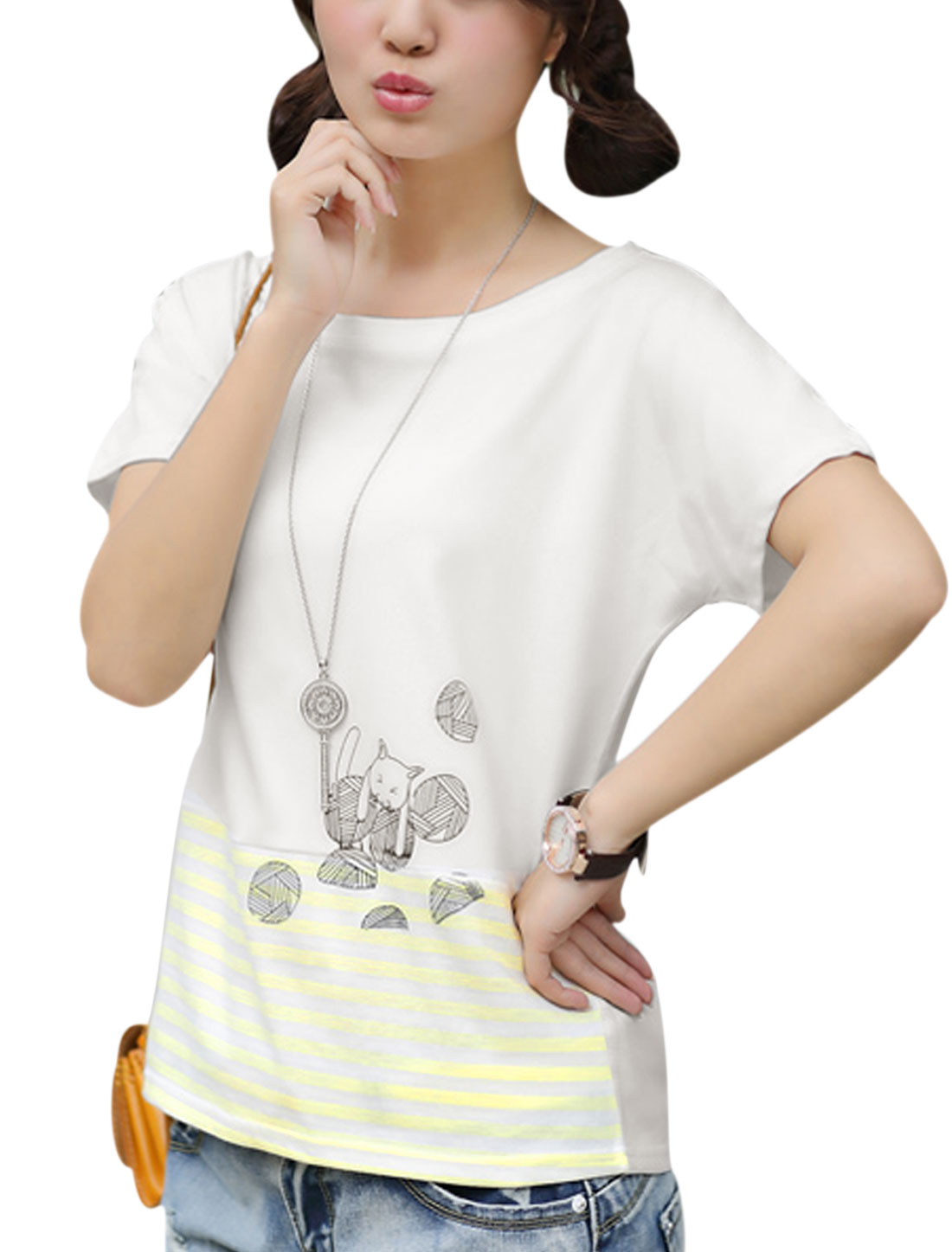 Women Soft Short Batwing Sleeve Cartoon Cat Printed Top Light Yellow White XS