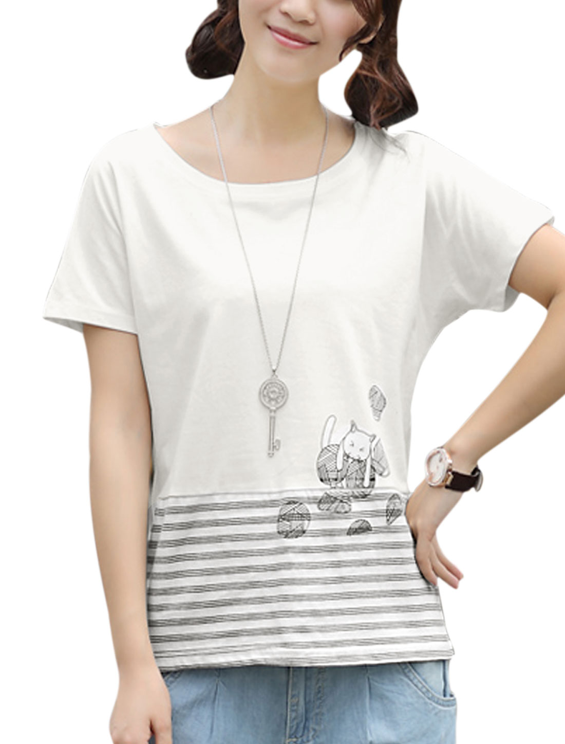 Women Soft Batwing Design Stripes Ball Printed Top Light Gray White XS