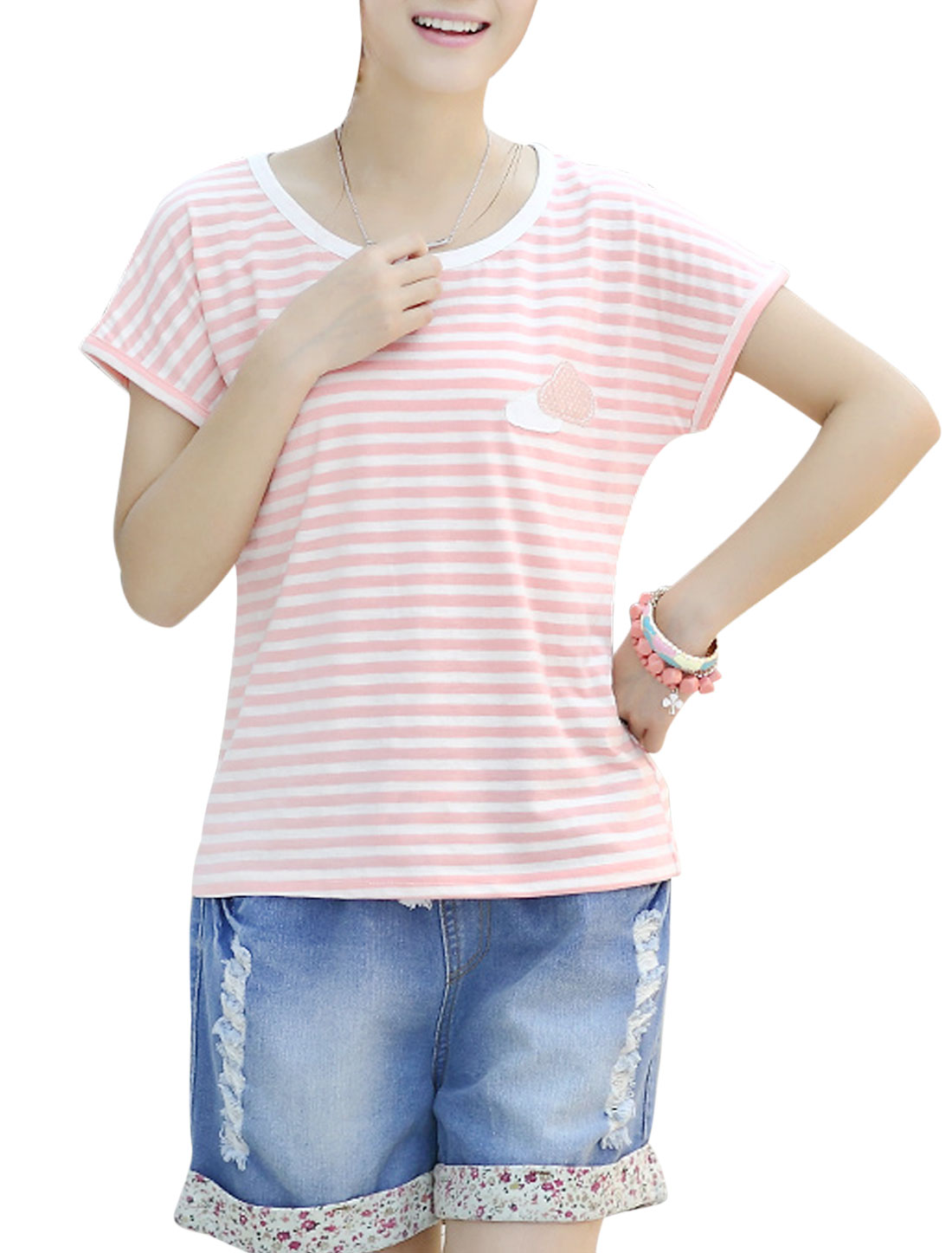 Ladies Soft Round Neck Cloud Applique Loose Top Pink White XS