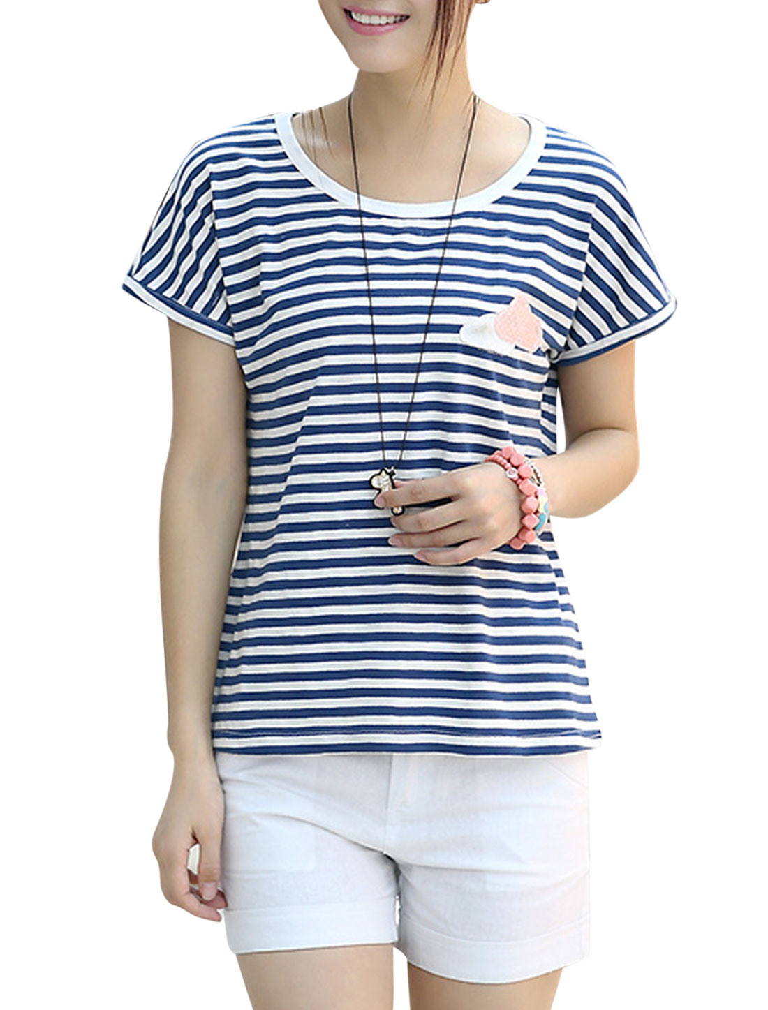 Ladies Soft Pullover Stripes Cloud Applique Loose Top Navy Blue White XS