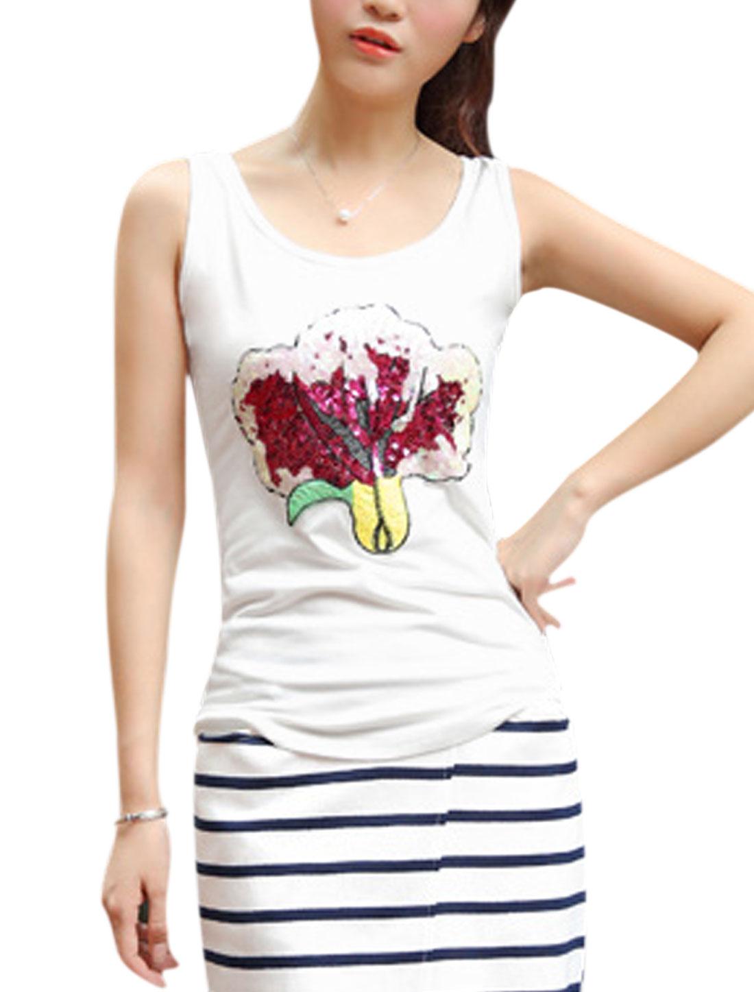 Ladies Scoop Neck Plant Applique Fashion Tank Top White S