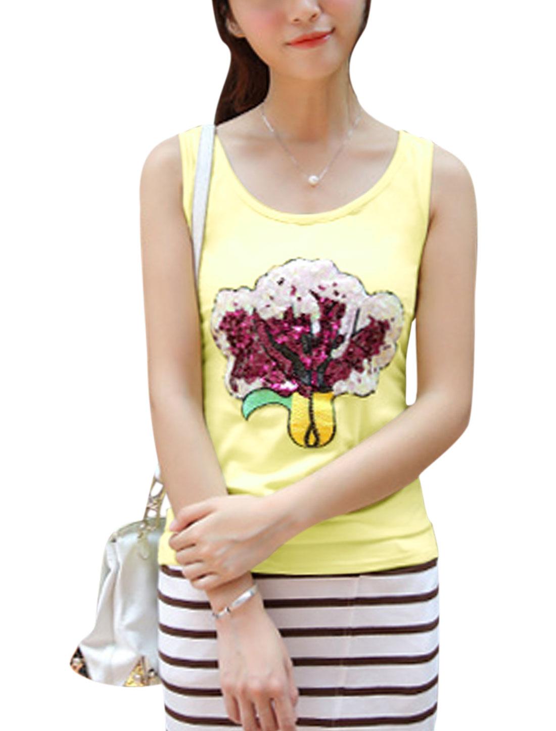 Ladies Sleeveless Plant Applique Fashion Tank Top Light Yellow S