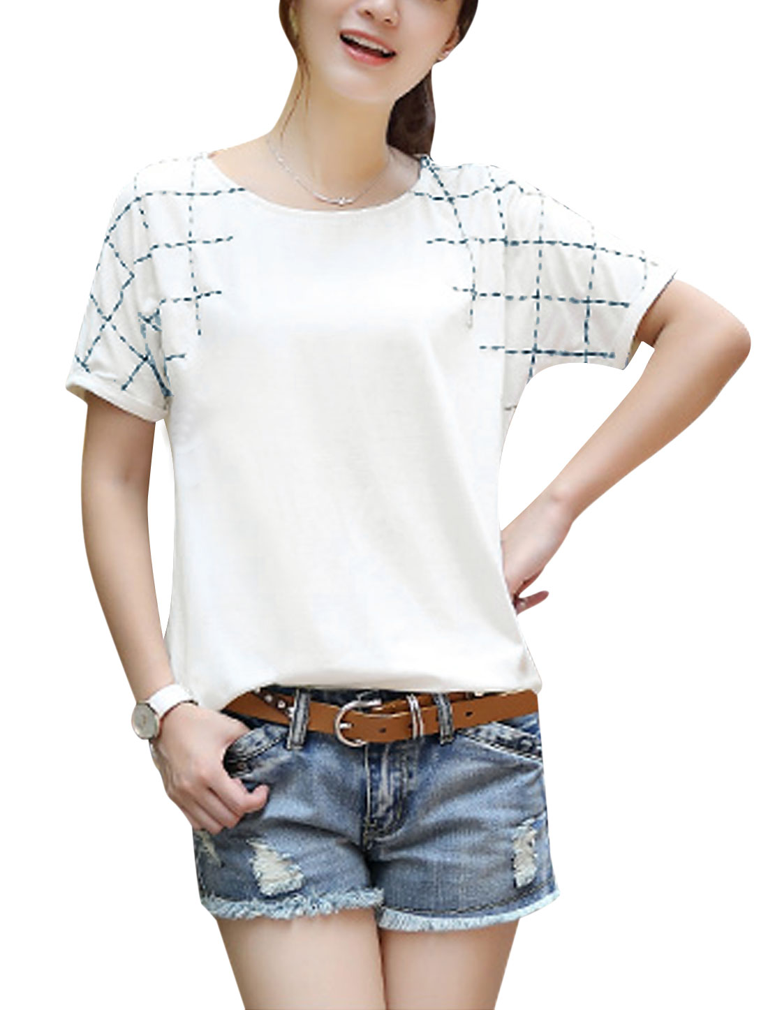 Ladies Pullover Short Sleeve Plaids Embroidery T-Shirt White XS