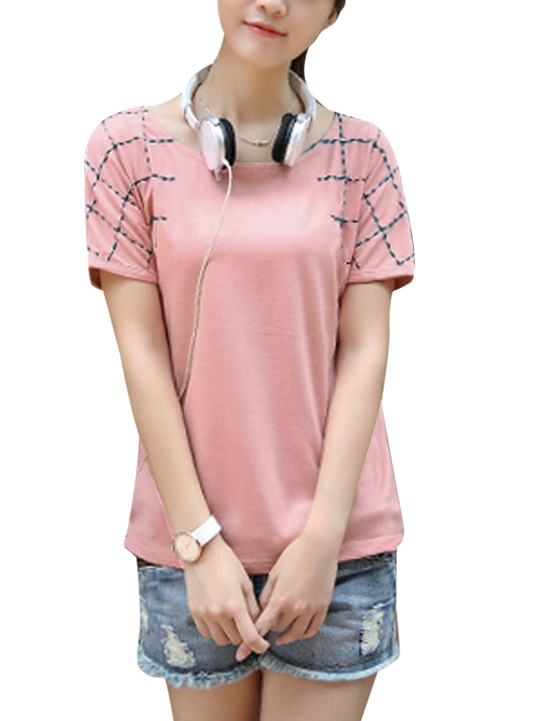Ladies Casual Short Sleeve Plaids Embroidery T-Shirt Pink XS