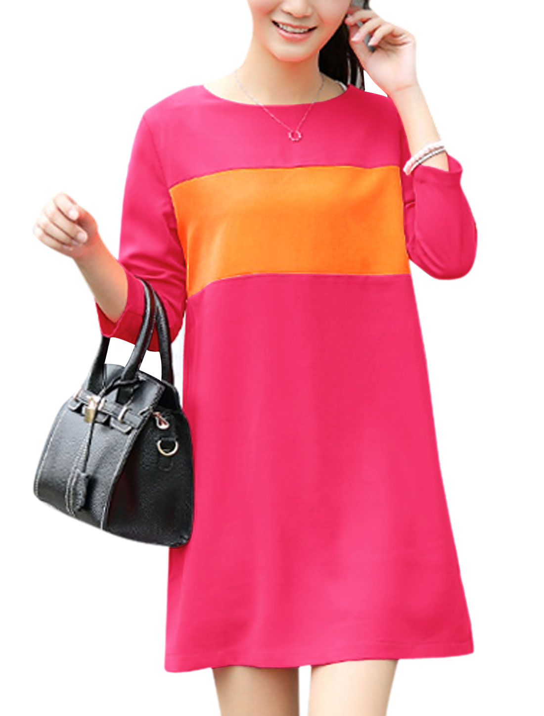 Ladies 3/4 Sleeve Colorblock Zip Fly Back Shift Dress Deep Pink S