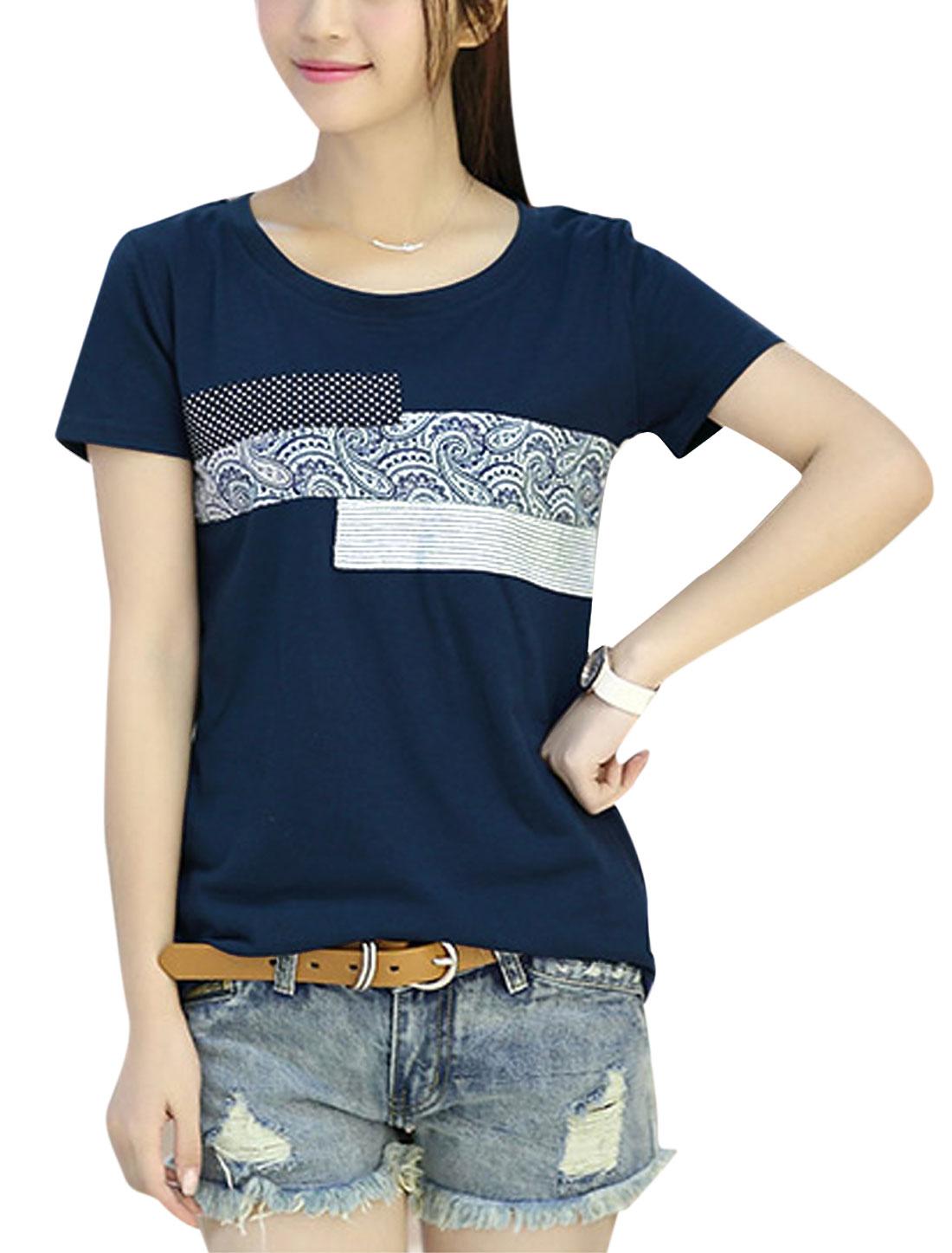 Ladies Paisleys Prints Panel Style T-Shirt Dark Sea Blue XS
