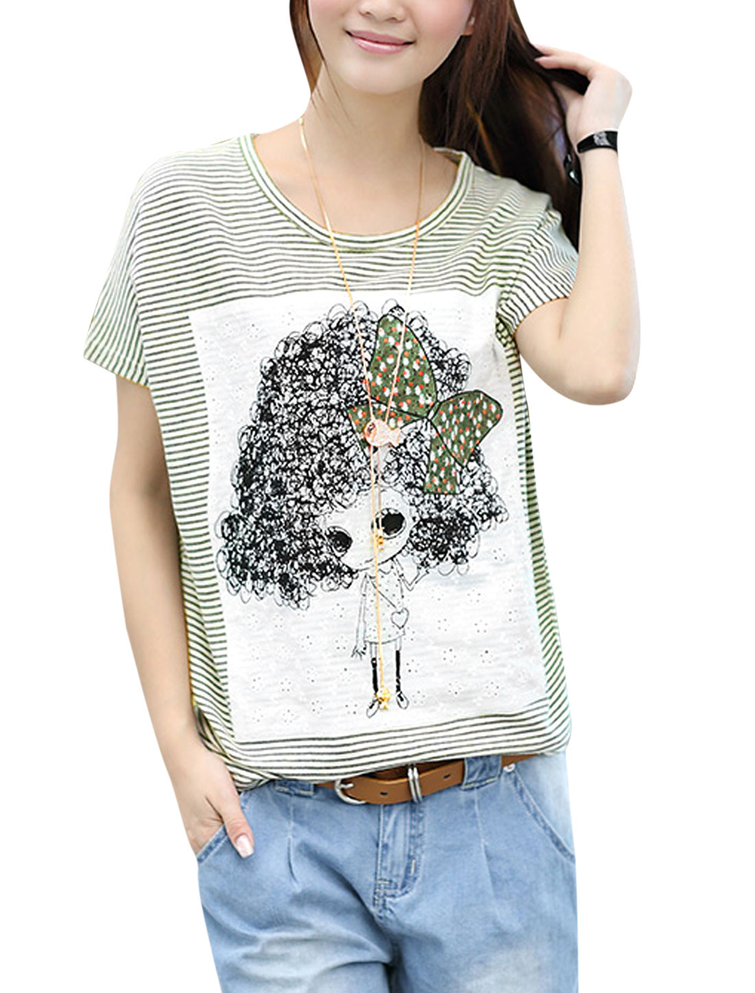 Ladies Casual Stripes Cartoon Portrait Applique Loose T-Shirt Beige Green S