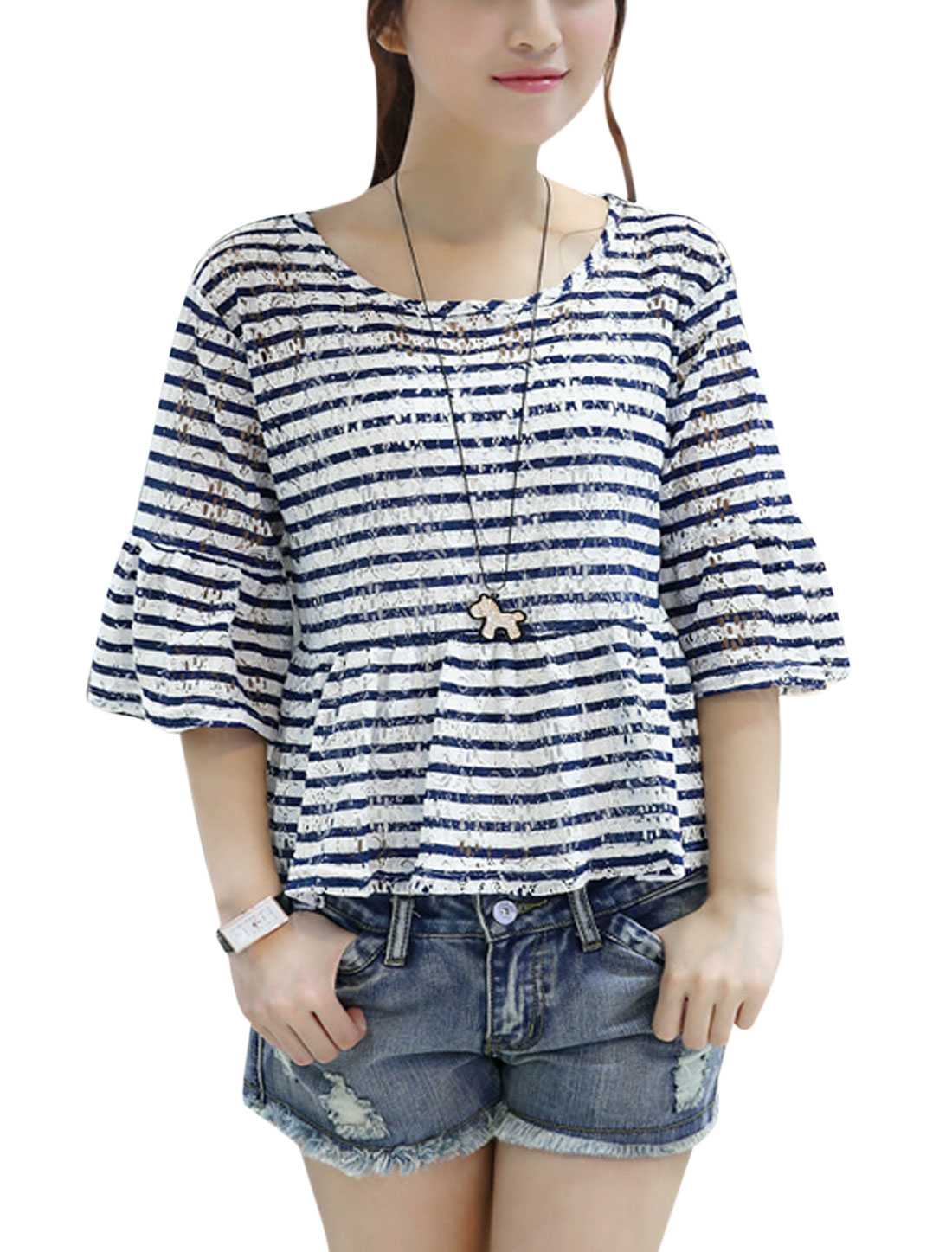 Lady 3/4 Trumpet Sleeve Stripes Hollow Out Peplum Top Blue White M