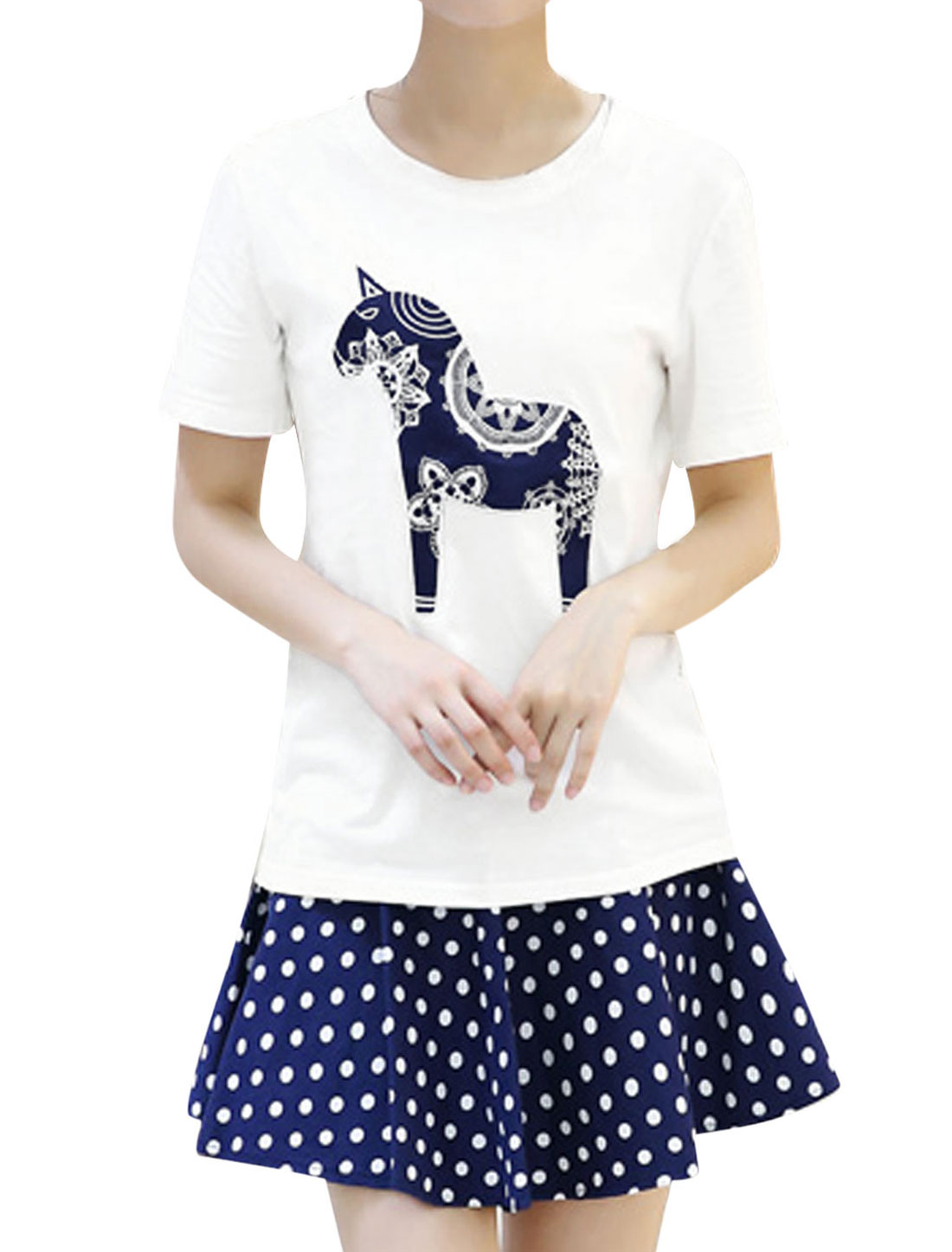 Ladies Casual Short Sleeve Horse Applique T-Shirt White XS