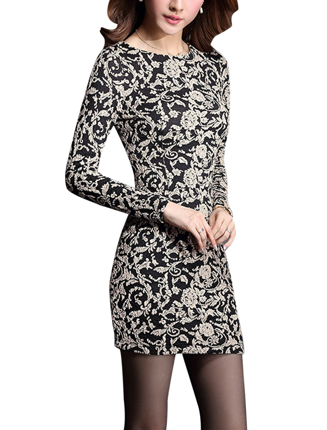 Lady Floral Pattern Hidden Zipper Back Long Sleeve Slim Stretch Dress Black L