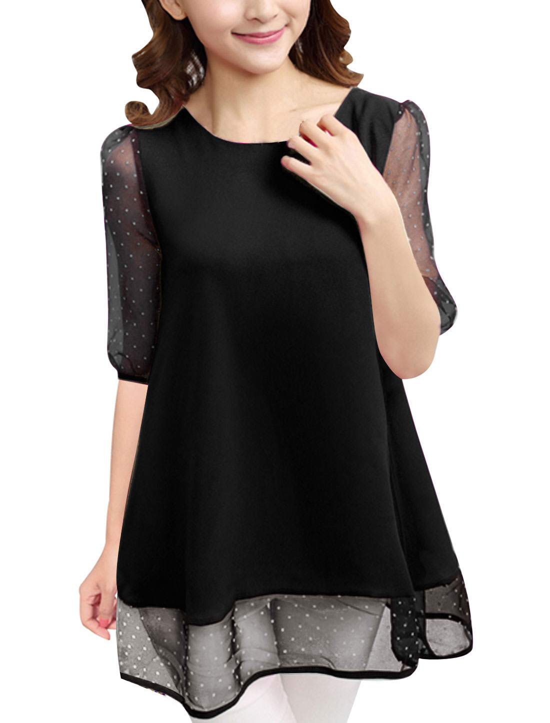 Women Dots Elbow Sleeves Organza Panel Sweet Chiffon Tunic Top Black L