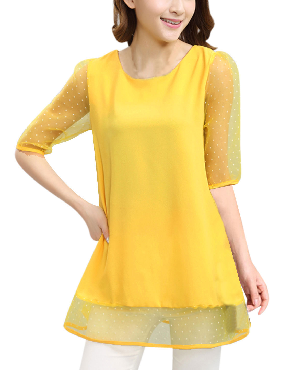 Women Dots Prints Hidden Zipper Back Sweet Chiffon Tunic Top Light Yellow L