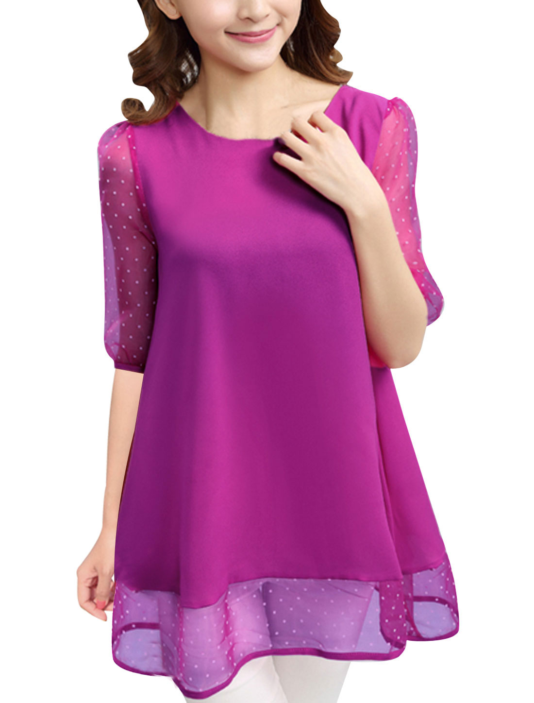 Women Dots Prints Organza Panel Sweet Chiffon Tunic Top Purple L