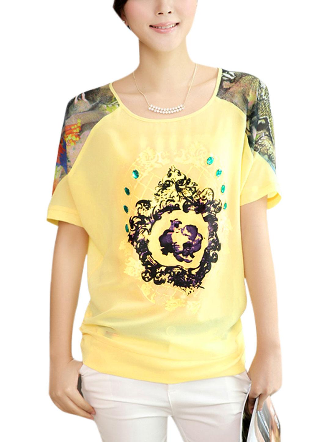 Lady Shirred Side Novelty Prints Cozy Fit Chiffon Blouse Light Yellow L
