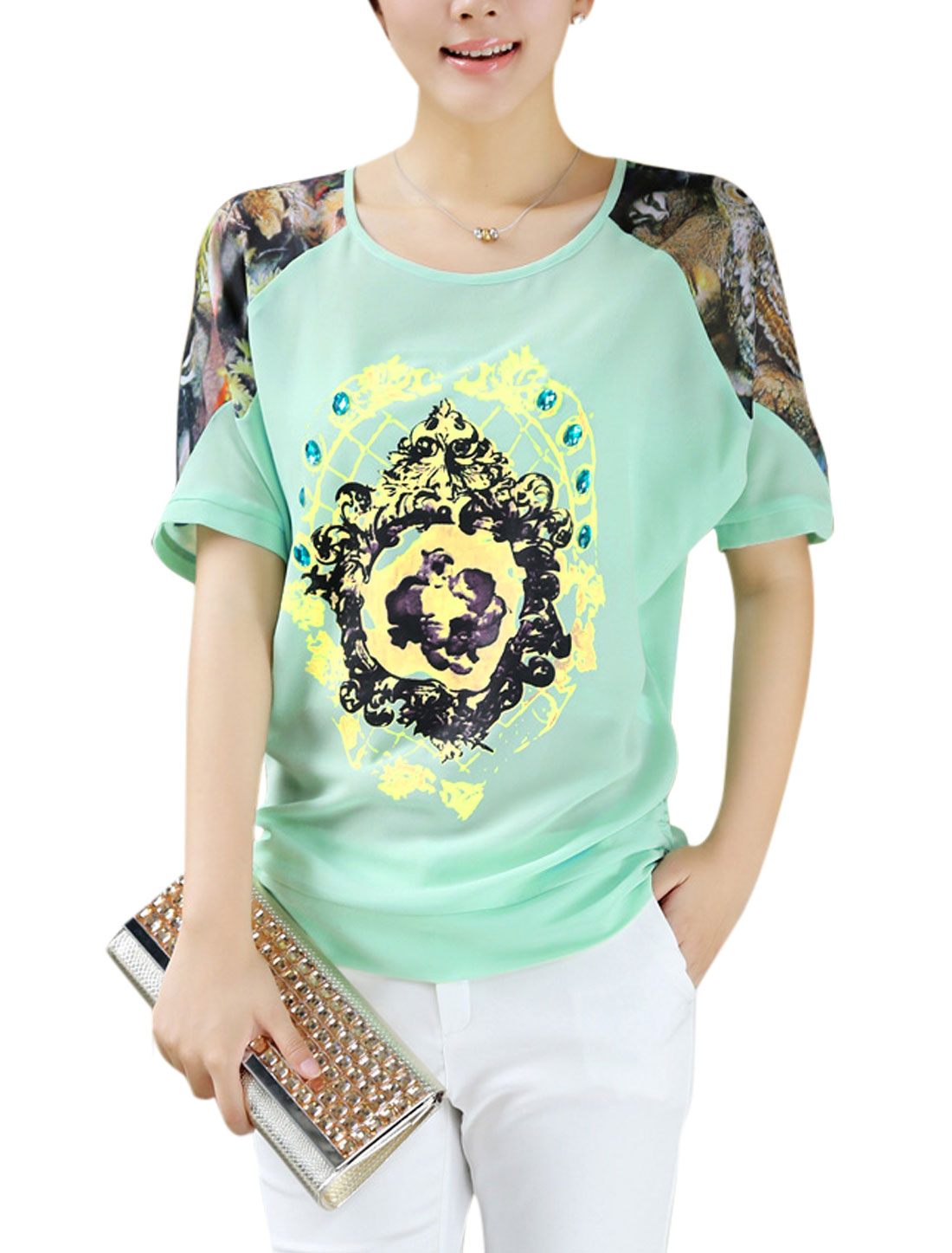 Lady See Through Splicing Rhinestone Decor Cozy Fit Chiffon Top Mint L