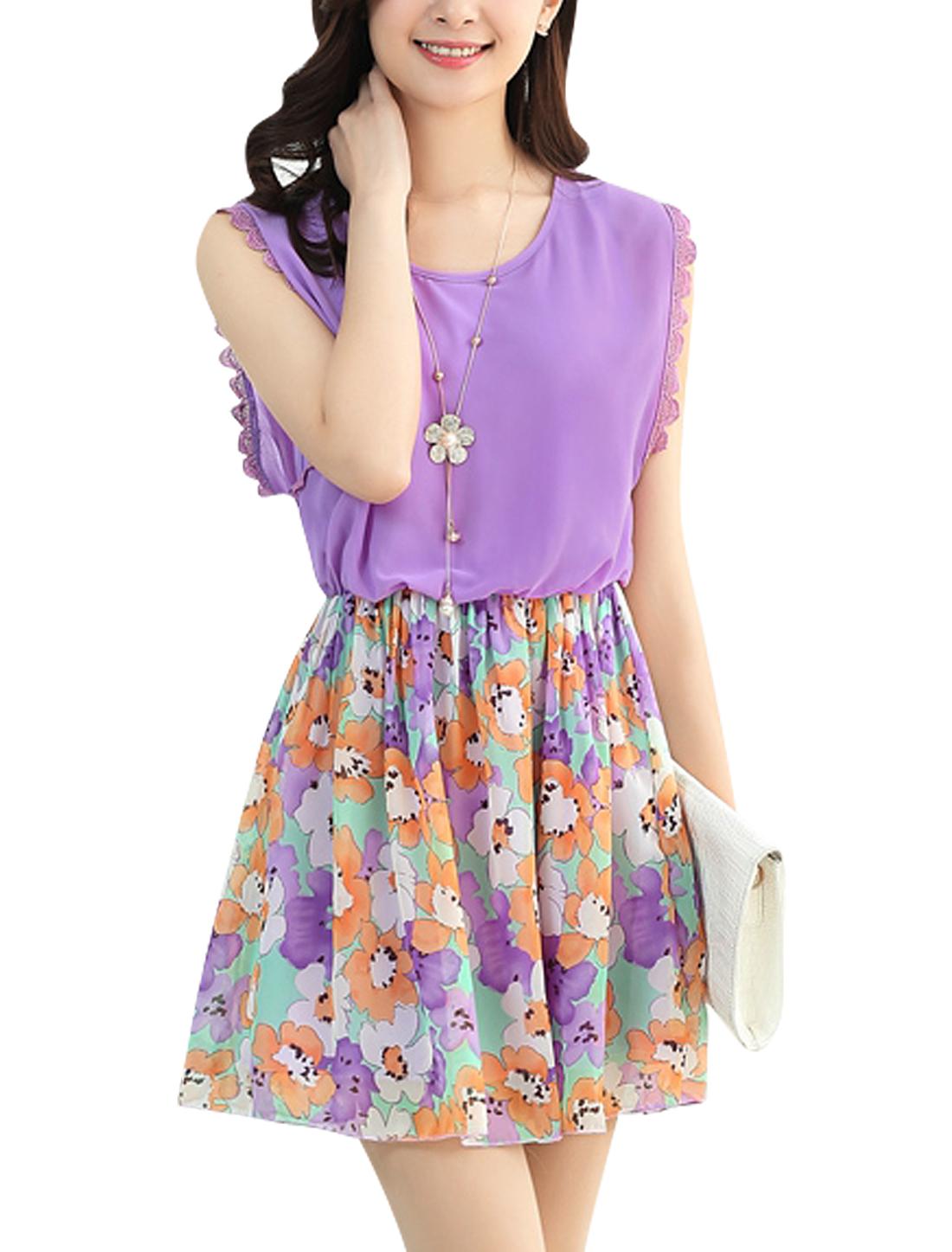 Women Pullover Round Neck Flower Pattern Chiffon Tank Dress Light Purple L