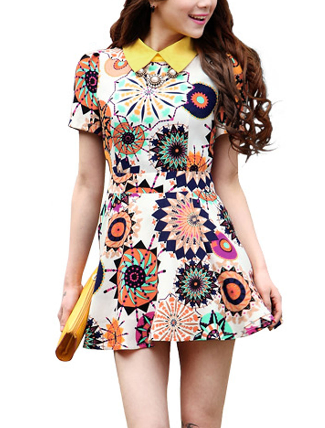 Lady Geometric Prints Conceal Zipper Back Lining Dress Beige Bright Yellow M