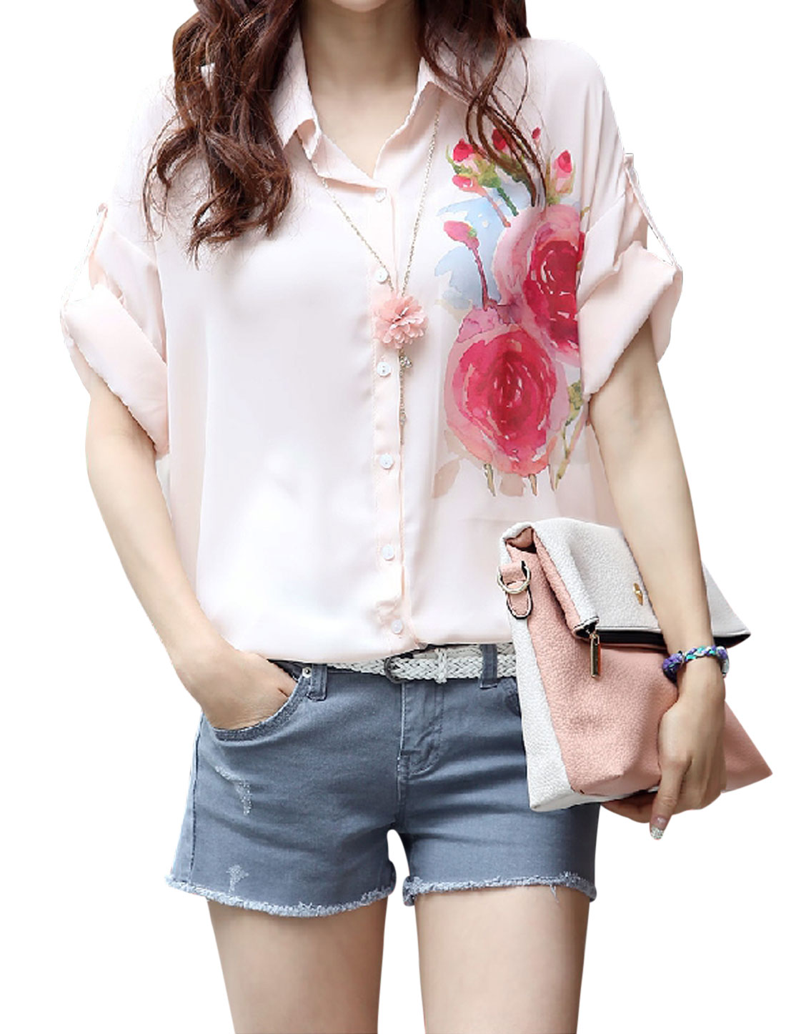 Lady Point Collar Single Breasted Floral Prints Chiffon Shirt Light Pink S