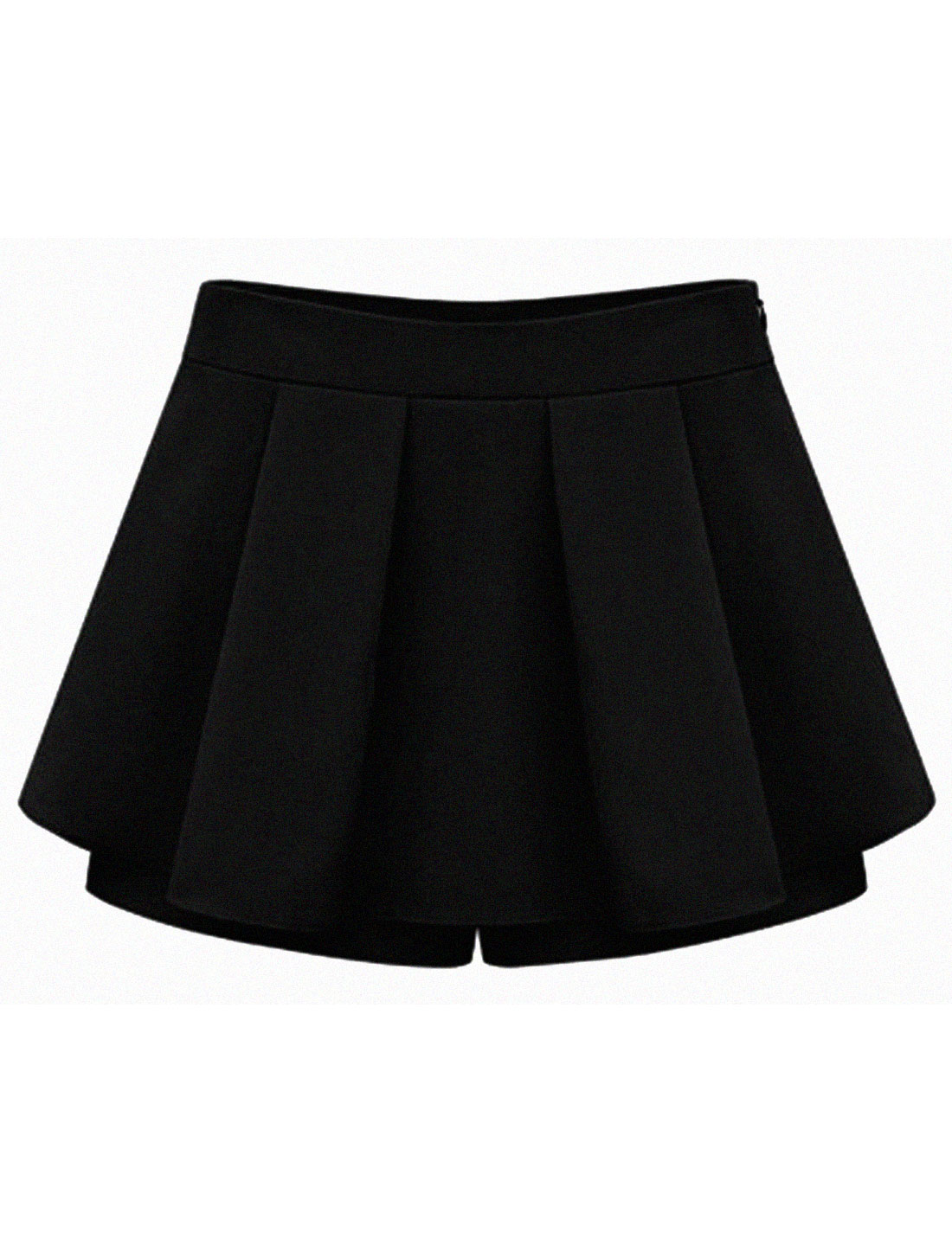 Lady Hidden Zipper Side Pleated Front Simple Color Casual Skorts Black XL