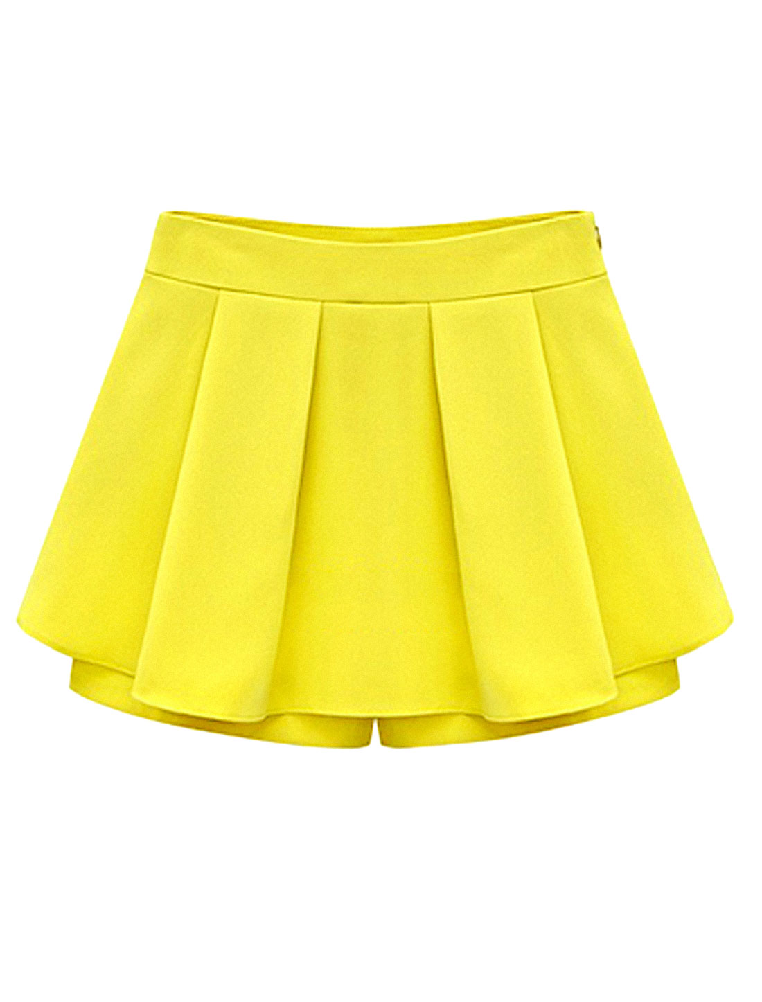 Women Pleated Front Conceal Zipper Side Casual Skorts Yellow XL