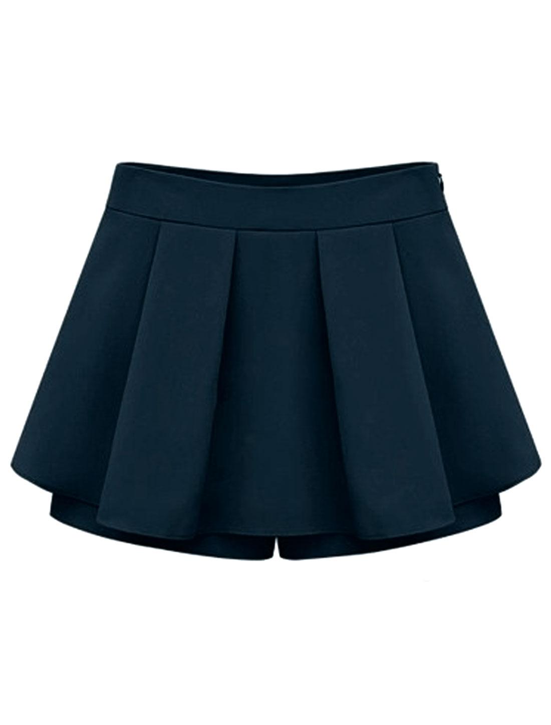 Women Hidden Zipper Side Ruched Front Casual Skorts Navy Blue XL