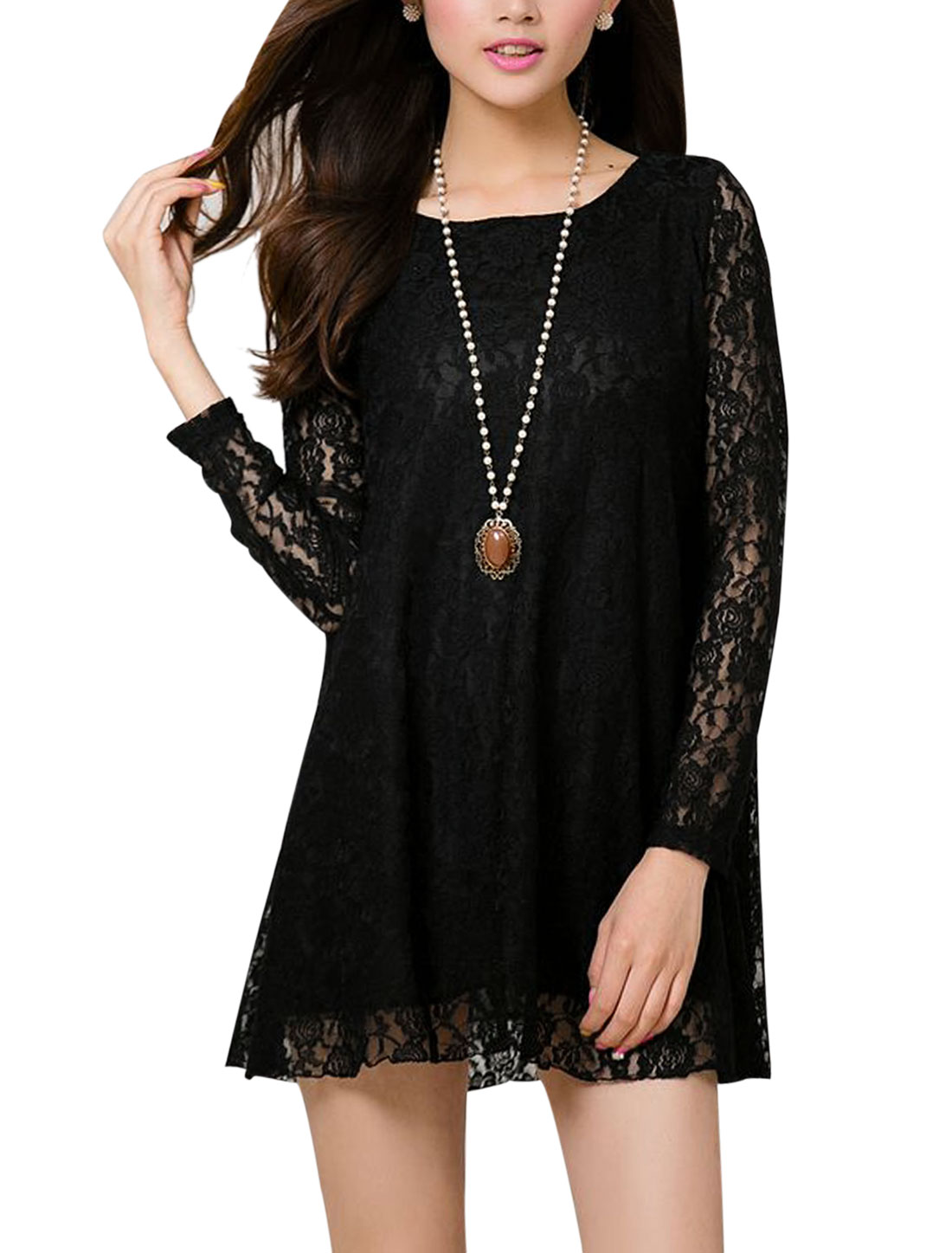 Women Scoop Neck Lining Casual Lace Tunic Top Black S