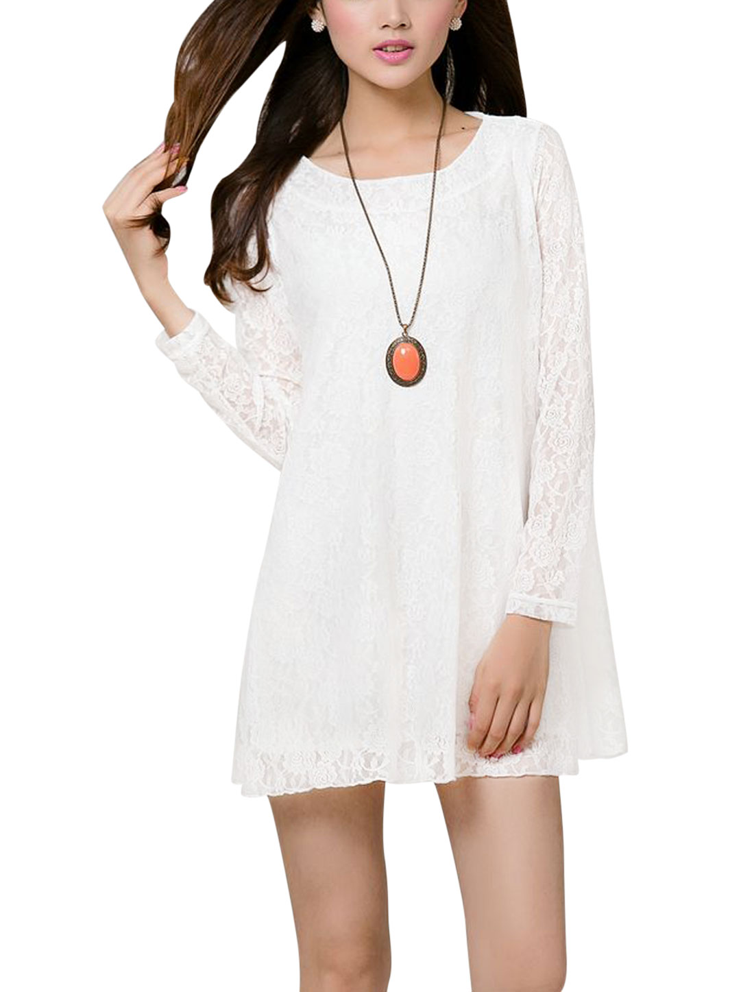 Women Scoop Neck Long Sleeve Lining Casual Lace Tunic Top White S