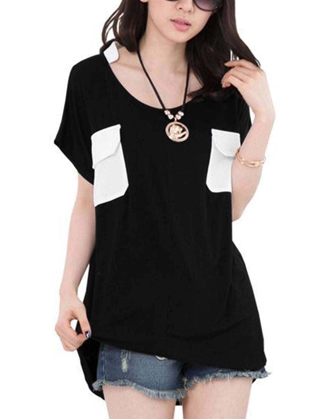 Ladies Convertible Collar Batwing Design Cozy Loose Fit Top Black XS