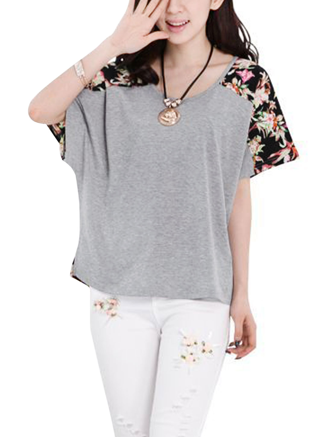 Lady Bat Sleeve Chiffon Panel Floral Pattern Back Split Side T-shirt Black Gray XS
