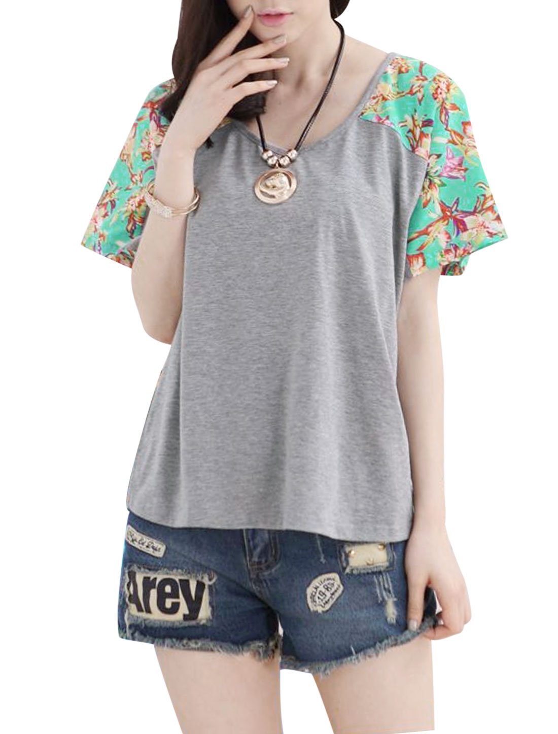 Lady Summer Fit Chiffon Panel Batwing Sleeve Casual T-shirt Aqua Gray XS