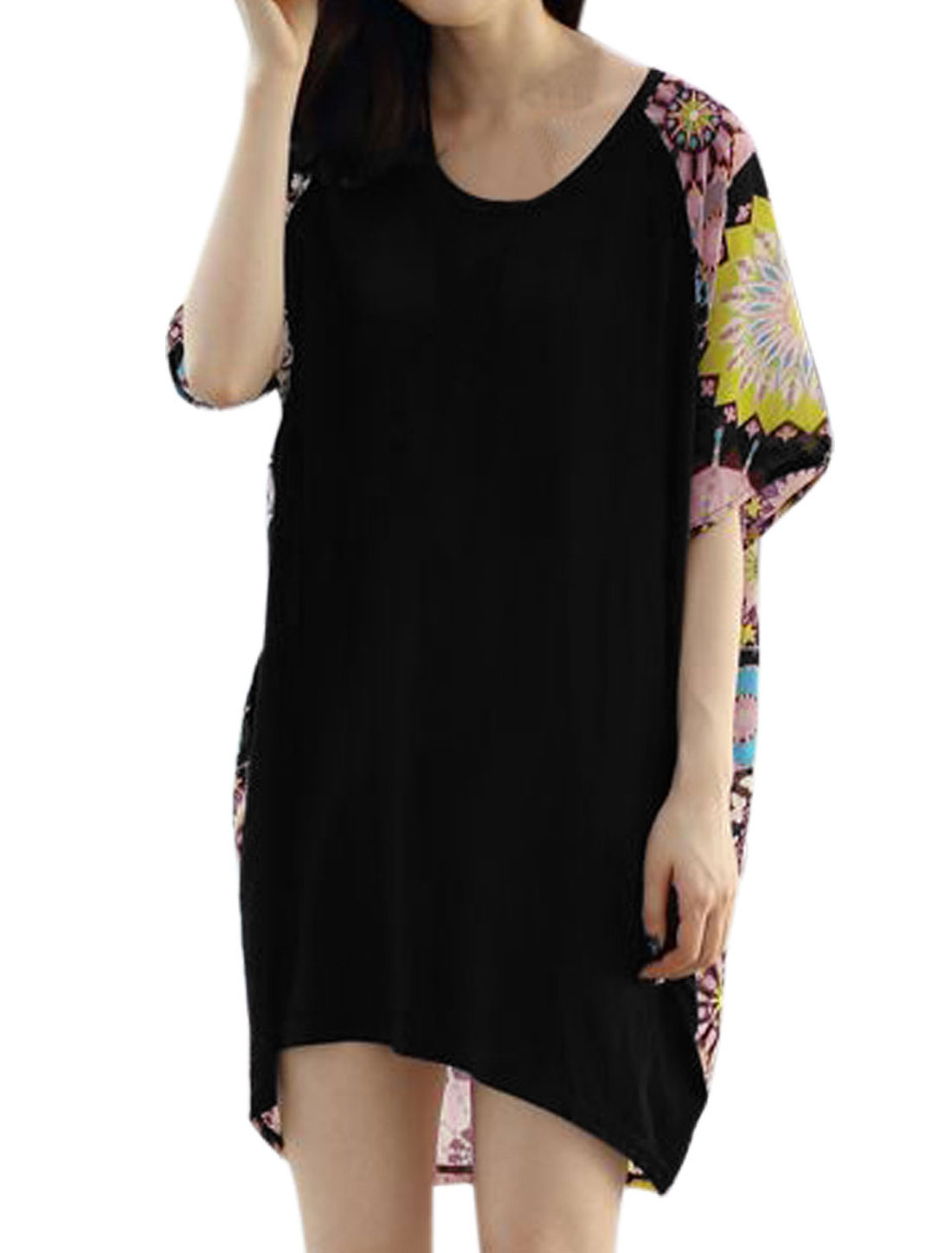 Lady Geometric Prints Panel Design High Low Hem Loose Tunic Top Black M