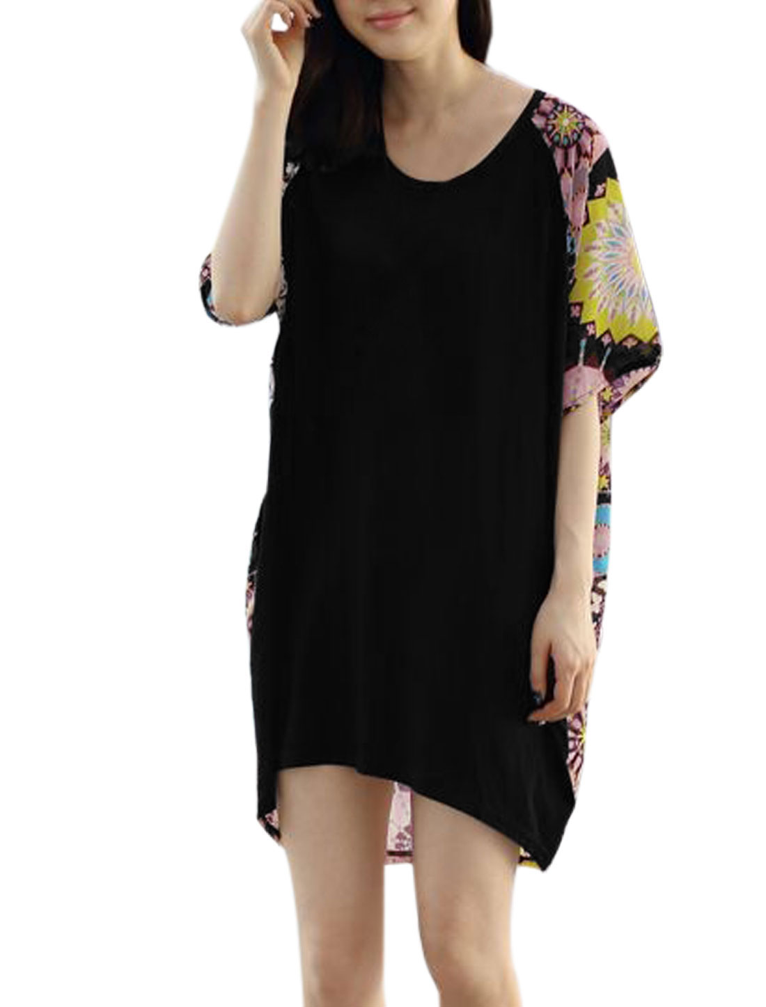 Lady Geometric Prints Panel Design Casual Loose Tunic Top Black L