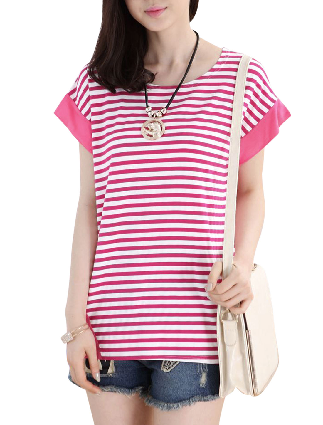 Lady Short Sleeve Bar Striped Panel Design Loose Fit T-Shirt Fuchsia M