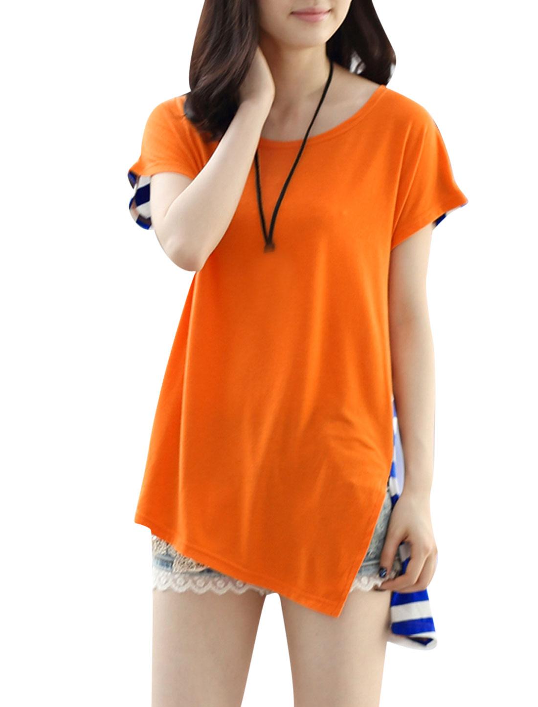 Lady Stripes Back Colorblock Irregular Hem Loose Tunic Tee Orange Blue XS