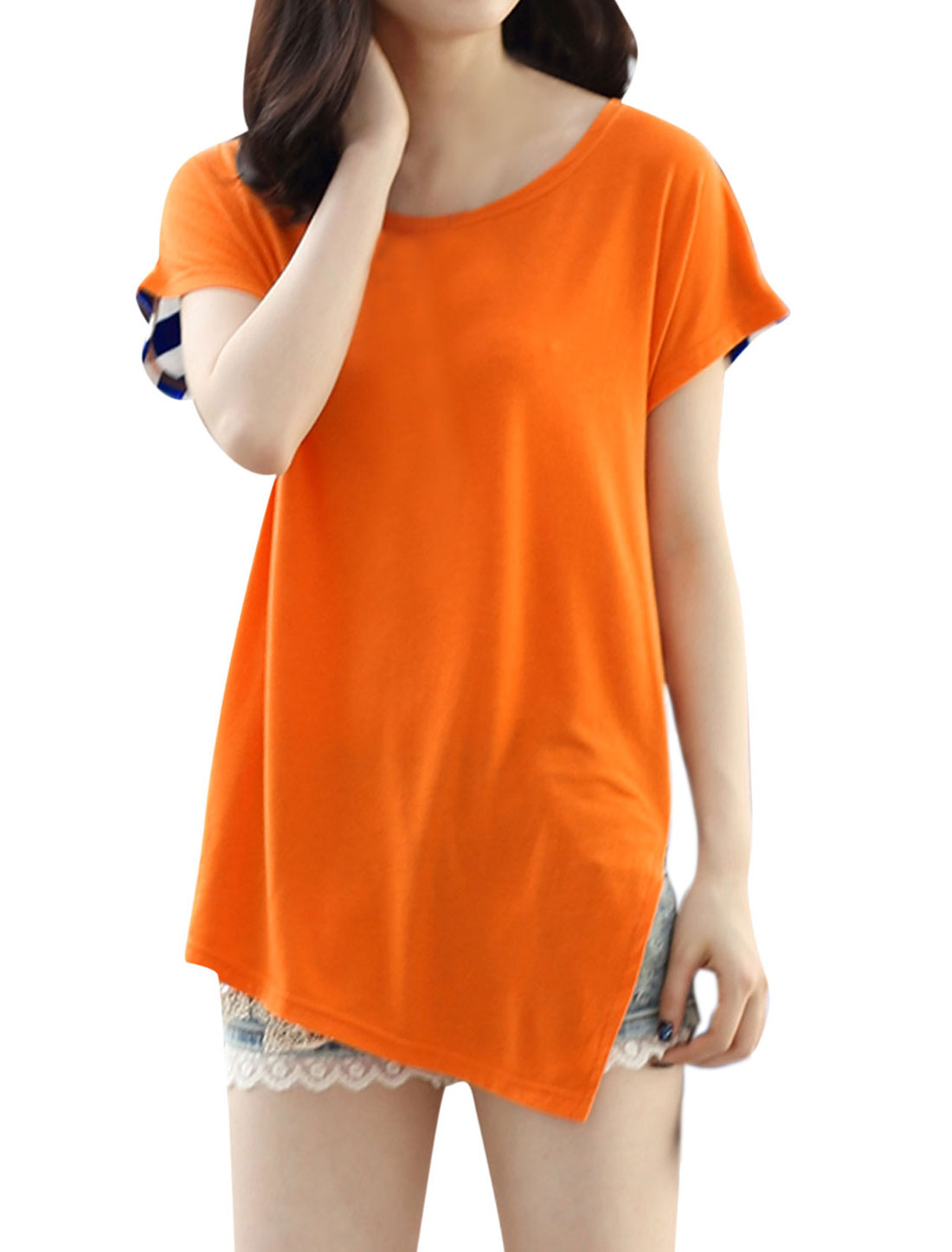 Lady Stripes Back Colorblock Split Side Tunic Tee Orange Blue M