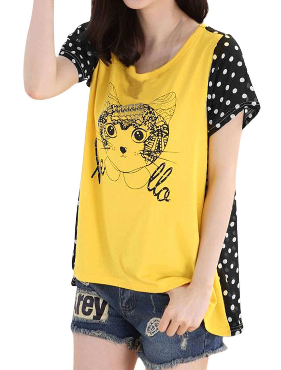 Lady Cat Dots Pattern Chiffon Panel Curve Hem Casual T-shirt Bright Yellow S