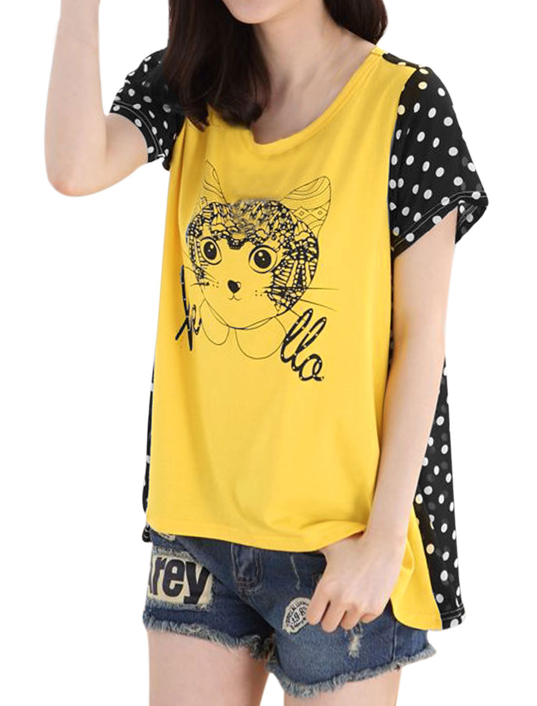 Lady Chiffon Panel See Through Back Loose T-shirt Bright Yellow M