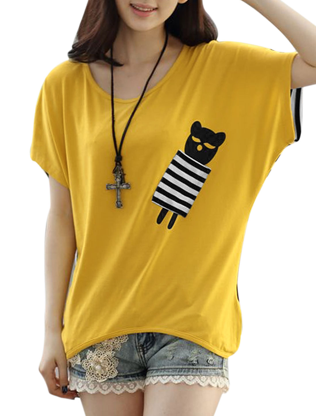 Lady's Short Sleeve Stripes Cartoon Pattern Spliced Casual T-shirt Yellow M