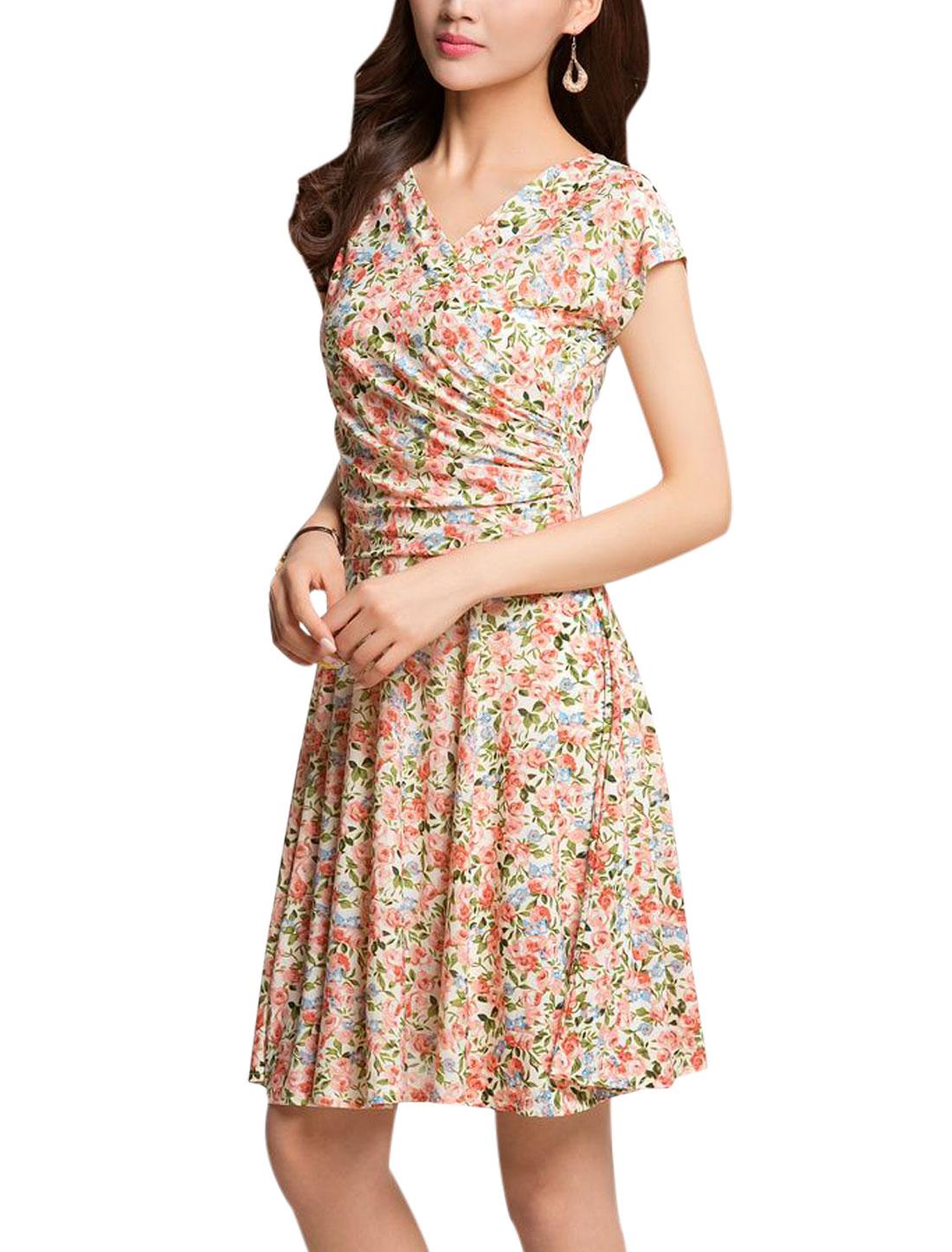 Lady Crossover V Neck Floral Prints Ruched Design Unlined Dress Pink M