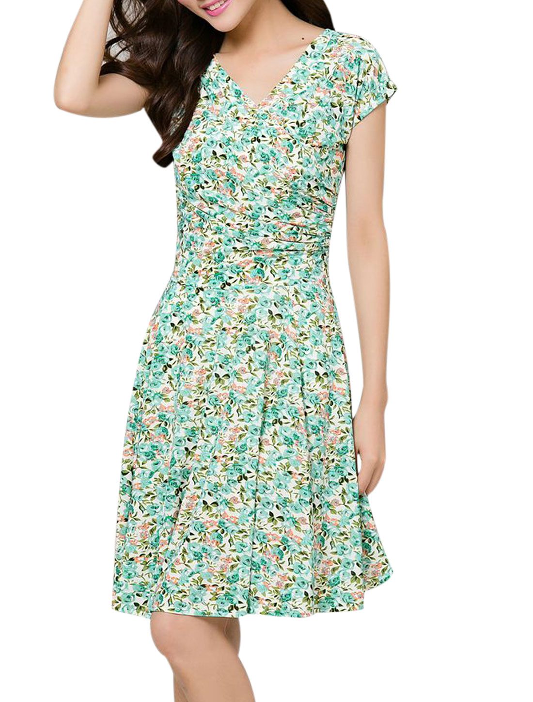 Lady Crossover V Neck Floral Prints Ruched Design Casual Dress Mint M