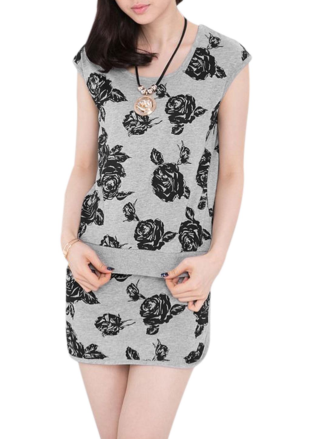 Lady Floral Prints Top w Elastic Drawstring Waist Mini Skort Set Gray XS